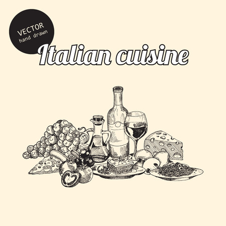 old style: Vector set of italian national food. Background consist of grapes, tomatoes, pizza, glass with wine, bottle, olives oil, lasagna, pasta. mushrooms, olives and cheese. Hand drawn sketch art style.