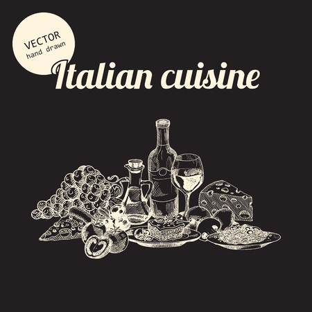 Vector set of italian national food. Background consist of grapes, tomatoes, pizza, glass with wine, bottle, olives oil, lasagna, pasta. mushrooms, olives and cheese. Hand drawn sketch art style.