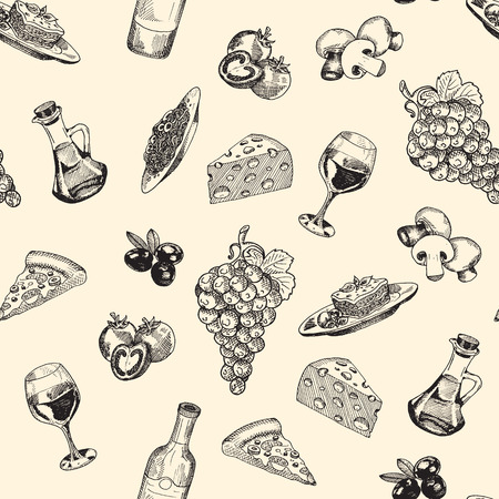 consist: Vector seamless pattern of italian food. Background consist of grapes, tomatoes, pizza, glass with wine, bottle, olives oil, lasagna, pasta. mushrooms, olives and cheese. Hand drawn sketch art style. Illustration