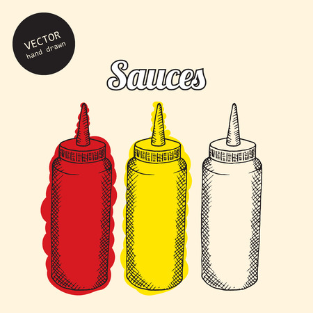 sauces: Vector set of sauces. Background consist of colored bottles with sauces. Sketch art style. Illustration