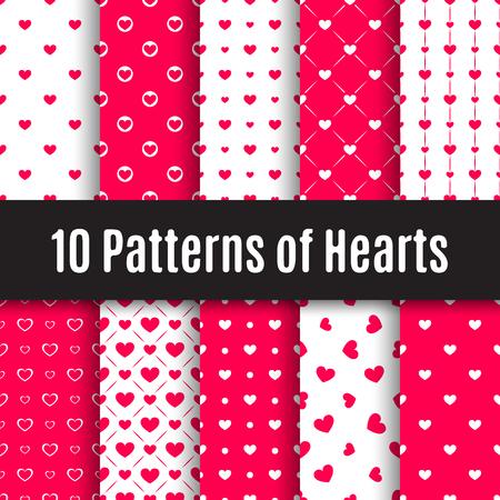 Vektor-Set. Zehn nahtlose Muster von Herzen.
