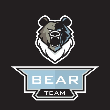 Modern professional grizzly bear logo for a sport team Illustration