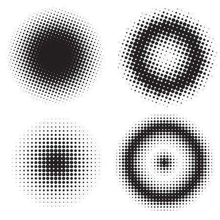Abstract set of half tone circles. Comics and pop art style.