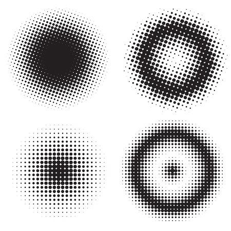 Abstract set of half tone circles. Comics and pop art style. Illustration