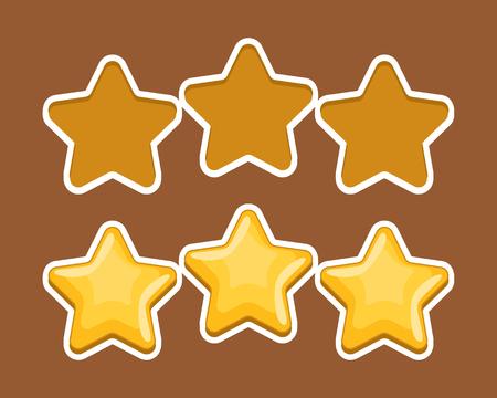 rank: Vector set of simple yellow stars, design element for rank, rating, award