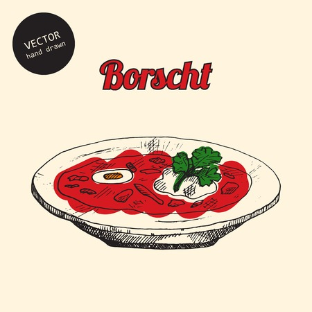 borscht: Vector russian national food. Background consist of colored borsch. Sketch art style. Can use in cover, poster, label, banner, menu in restaurant or cafe.