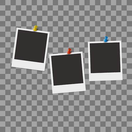 Retro photo frames with pit isolated on transparent background. Realistic vector illustration Vettoriali