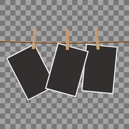 clothespin: Retro photo frames on the clothespin isolated on transparent background. Realistic vector illustration Illustration