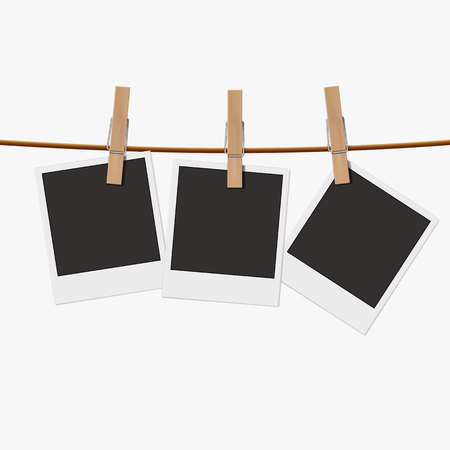 Retro photo frames on the clothespin isolated on white background. Realistic vector illustration