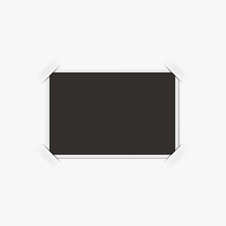 Retro photo frame isolated on white background. Realistic vector illustration