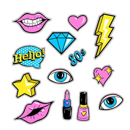 Set of fashion patch badges with lips, hearts, speech bubble, star and other elements. Vector illustration isolated on white background. Set of stickers, pins, patches in cartoon 80s-90s comic style. Illustration