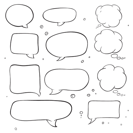 Hand drawed vector sketch bubbles talk and think. Comic pop art style