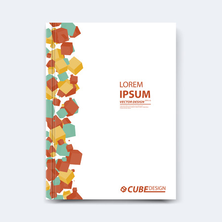 title page: Abstract vector cubed design for cover, poster, banner, flyer, business card, magazine annual report, title page, brochure template layout or booklet .A4 size with polygons on white background.