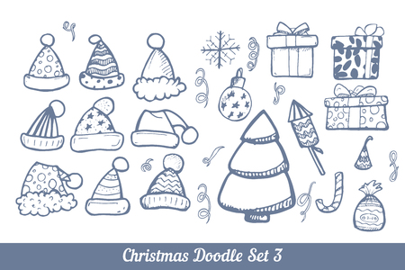 ellements: Set of hand drown ellements for Christmas and New Year winter Holidays. Doodle set of vector illustration.