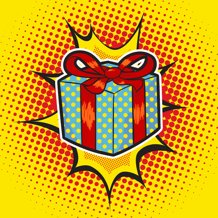 Xmas gift pop art retro style.Colorful image of a present on a retro background in the style of comics
