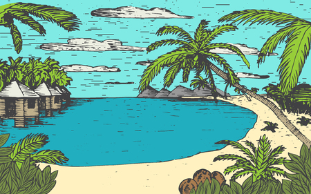Vector sketch illustration with Sea beach, palms and bungalows .