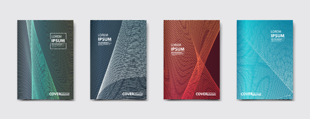 music: Minimalistic vector illustration of covers design. Line halftone gradients. Set of four future poster template.