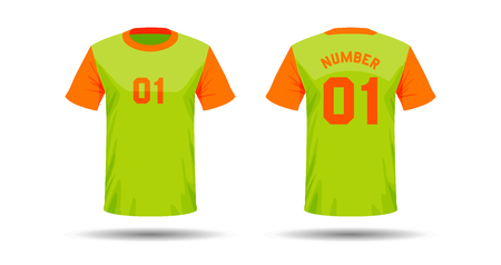Vector template of T-shirt sport design on white background with shadow in double colors.