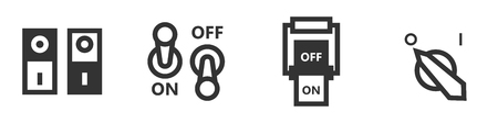 Set of four switch icons in simple style.