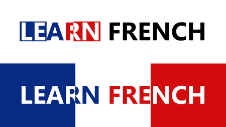 Vector banners on learning language theme. Illustration consist of inscription and national flag. Can use forr advertising for different French language courses.