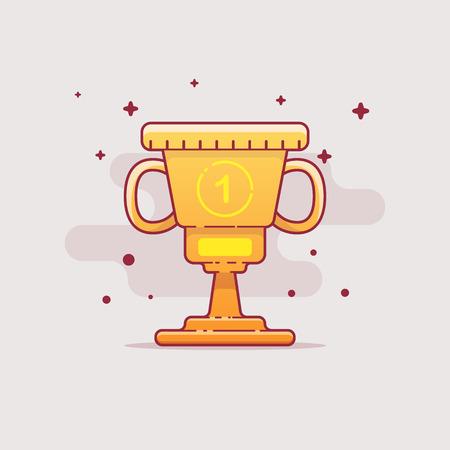 Gold flat cup Vettoriali