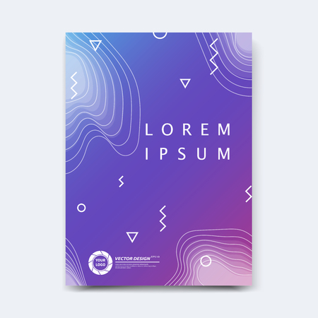 Abstract vector design for cover, poster, banner, flyer, business card, magazine annual report, title page, brochure template layout or booklet .A4 size with geometric shapes on white background. Archivio Fotografico - 104581710