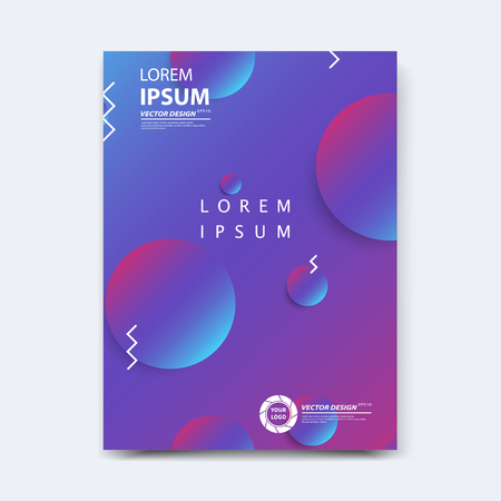 Abstract vector design for cover, poster, banner, flyer, business card, magazine annual report, title page, brochure template layout or booklet .A4 size with geometric shapes on white background. Archivio Fotografico