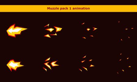 Fire weapon muzzle animation frames for cartoon game