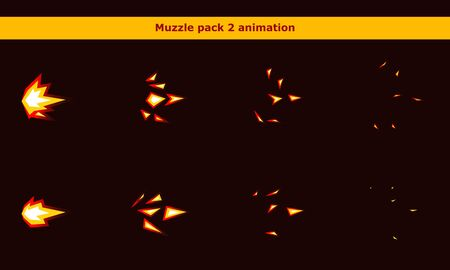 Fire weapon muzzle animation frames for cartoon game Archivio Fotografico - 137543581