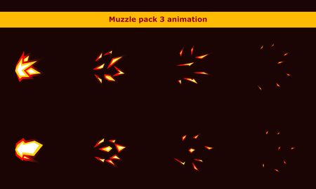 Fire weapon muzzle animation frames for cartoon game Archivio Fotografico - 137543584