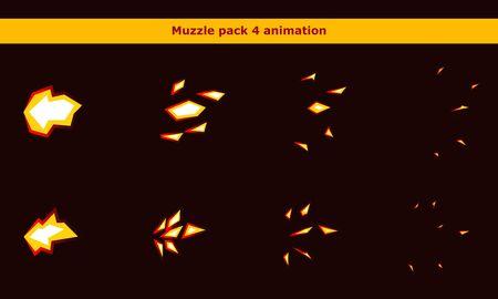 Cadres d'animation de museau d'arme de feu pour jeu de dessin animé