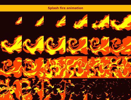 Fire splash explosion animation frames for cartoon game