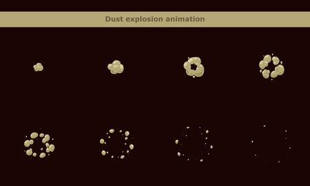 Dust smoke animation frames for cartoon game