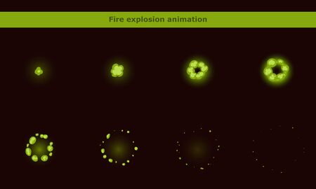 Green smoke animation frames for cartoon game