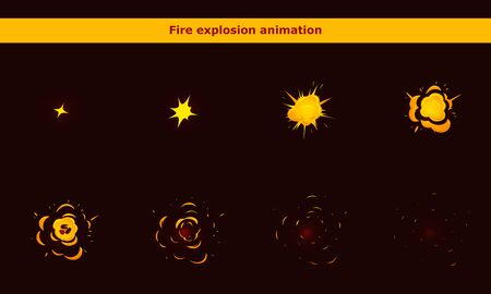 Fire explosion animation frames for cartoon game