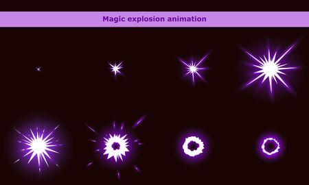 Magic flash animation frames for cartoon game