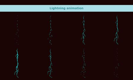 vector lightning animation frames for cartoon game Archivio Fotografico - 137543714