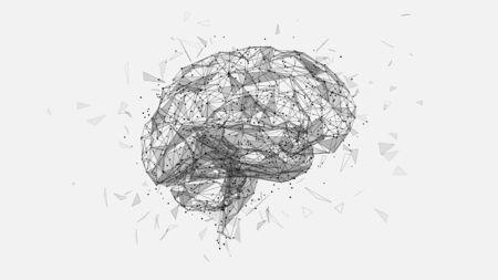 polygonal human brain illustration on white background