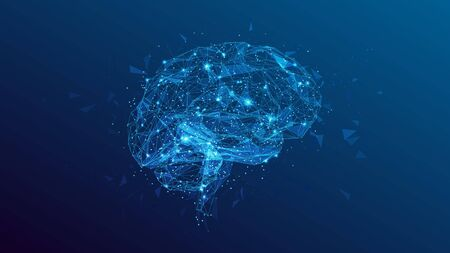 Abstract polygonal human brain. Low poly wire frame mesh vector illustration on blue background. Lines and dots. Polygonal art in the form of a starry sky or space. Vector image in RGB Color mode. Archivio Fotografico - 133528923