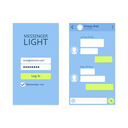 Concept template of mobile application. Online conversation, virtual relationships, social networking. Vector flat style cartoon illustration. Mobile modern UI kit messenger on the smartphone screen