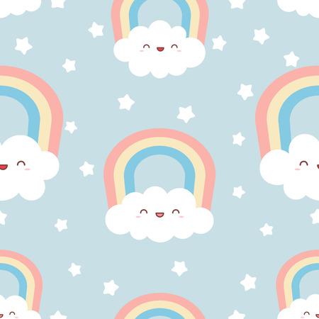 Cute kawaii clouds with rainbow and stars. Seamless Pattern, Cartoon Vector Illustration, Nursery Background for Kid. Vettoriali
