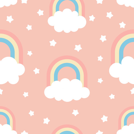 Cute kids illustration with clouds, rainbow and stars. Seamless Pattern, Cartoon Vector Illustration, Nursery Background for Kid. Archivio Fotografico - 115526591