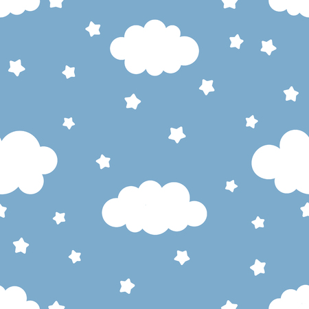 Cute kids illustration of night sky with clouds and stars. Seamless Pattern, Cartoon Vector Illustration, Nursery Background for Kid. Vettoriali
