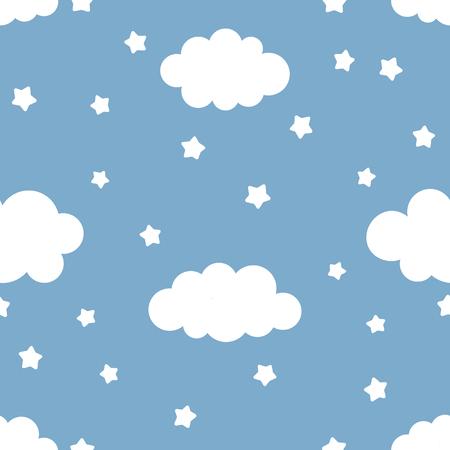 Illustrazione di bambini carini del cielo notturno con nuvole e stelle. Modello senza cuciture, illustrazione di vettore del fumetto, fondo della scuola materna per il bambino.