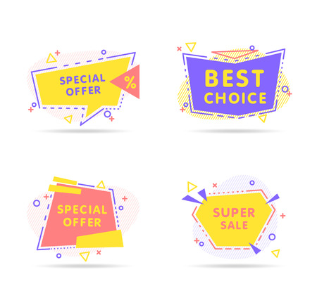 Colorful modern abstract vector banner in trendy style on white background. Presentation template design. Creative banner, label vector. Archivio Fotografico - 123987221