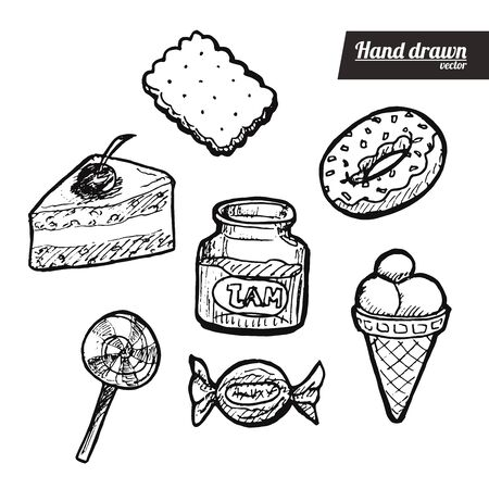 Hand drawn sketch style candy set. Vintage candy food vector illustration. Sliced cake. White background.