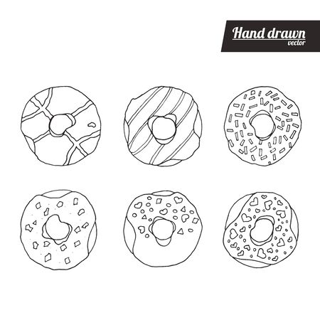 Hand drawn sketch style of donuts set. Vintage donuts vector illustration. Donuts with different fillings. White background. Archivio Fotografico - 147663990