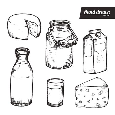 Hand drawn sketch style of milks products set. Vintage milks containers and cheese vector illustration. White background.