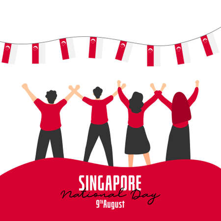 Singapore independence day banners template. Design with national flag.