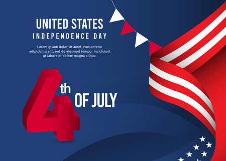 4 th of july independence day celebrations. United states celebrations banner template.